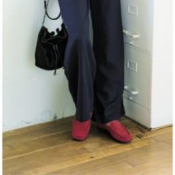 AQUALEATHER(R)/アクアレザー 洗えるモカシンシューズ (ウ)レッド コーディネート例