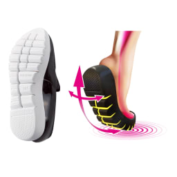 SLIM COACH/スリムコーチ エクササイズローファー [360°屈曲ラウンドソール]靴底に深い切り込みを入れることで、厚底ながら高い屈曲性を実現。足の筋肉を使いやすい構造。軽やかな足どりで積極的に歩けます。