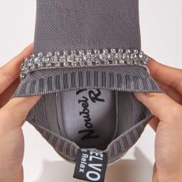Noubel Voug Relax/ヌーベルヴォーグ リラックス ビジュー使いスリッポン 履き口もしっかり伸びて脱ぎ履きしやすい