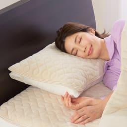 ファイテン 抗菌防臭リラックス寝具シリーズ リバーシブル パッドシーツ(シングルサイズ) シリーズの枕パッド使用例