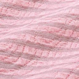 綿混ハイネックシャーリング 7分袖プルオーバー 立体的な綿混素材 凹凸感があり、肌につく面積が少ないためさらっと快適な着心地です。