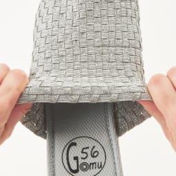 GOMU GOMU/ゴムゴム 厚底コンフォートサンダル 平ゴムとポリエステルテープを組み合わせたメッシュ編みで、履く人の足に沿って伸びます。