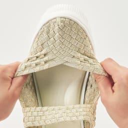GOMU GOMU/ゴムゴム メッシュシューズ ワンストラップのデザインで、ゴムを編み込んだメッシュが足をホールド