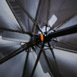 遮光1級 扇風機日傘 ネイビー 60cm 3枚羽のファンが涼しい風を送り込みます。乾電池式(別売:単3形アルカリ乾電池4本使用)。