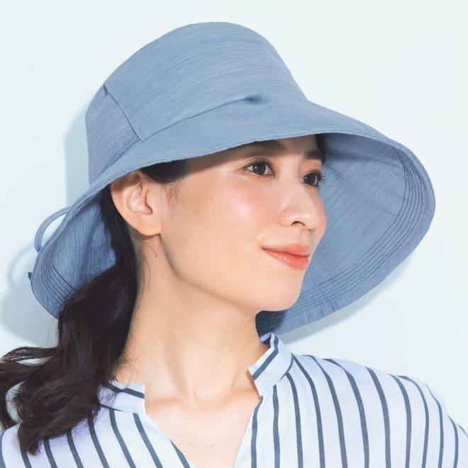 ベル・モード 風通る木陰の帽子(フェイスカバー付き) (イ)ブルー コーディネート例