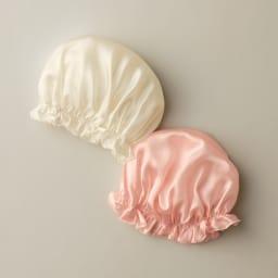 シルクおやすみナイト帽子 左から(ア)シルクホワイト (イ)シルクピンク