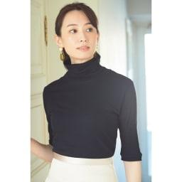 綿シフォン ハイネック半袖プルオーバー (ウ)ネイビー コーディネート例