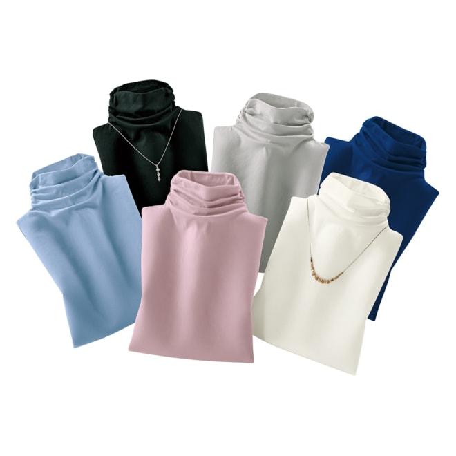 綿100% 接触冷感ハイネックノースリーブ (ア)オフホワイト (イ)クロ (ウ)グレー (エ)ピンク (オ)サックス (カ)ネイビーブルー ※アクセサリーは商品ではありません。