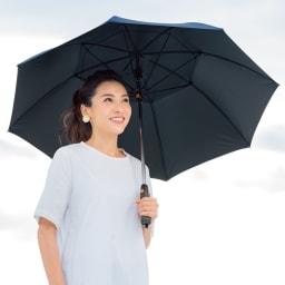 遮光1級 扇風機日傘 ネイビー 60cm コーディネート例 UVカット率約99%