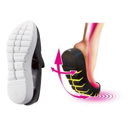 SLIM COACH/スリムコーチ エクササイズローファー(ブラックソール) [360°屈曲ラウンドソール]靴底に深い切り込みを入れることで、厚底ながら高い屈曲性を実現。足の筋肉を使いやすい構造。軽やかな足どりで積極的に歩けます。