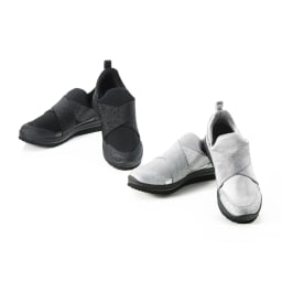 ヌーディウォーク ストレッチスリムスニーカー 履くと良い姿勢とされる「かかと重心の姿勢」に導き、履いて歩くことで「脚の内側の筋肉が使えて」消費カロリーアップが期待できる!