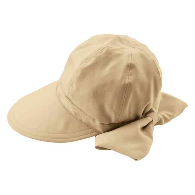 パーフェクト日よけリボン帽 (イ)ベージュ