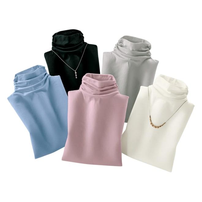 綿100% 接触冷感ハイネックノースリーブ (ア)オフホワイト (イ)クロ (ウ)グレー (エ)ピンク (オ)サックス ※アクセサリーは商品ではありません。