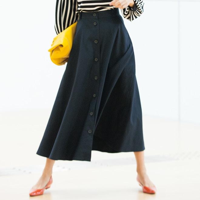 ボタンデザイン フレアーロングスカート 着用例