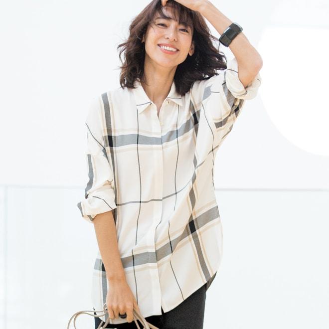 ポルトガル素材 ビッグチェック ロングシャツチュニック 着用例