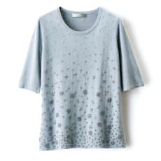 イタリア糸 ビーズ刺繍ニット 五分袖 プルオーバー