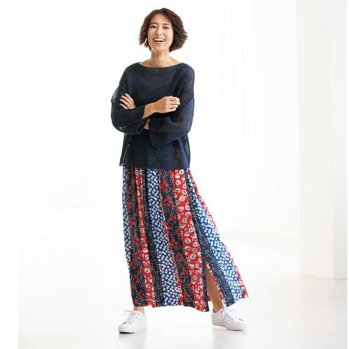 フランス素材 パッチワーク柄 ロングスカート 画像
