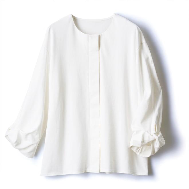 強撚コットンジャージー 比翼デザイン シャツ (ア)オフホワイト