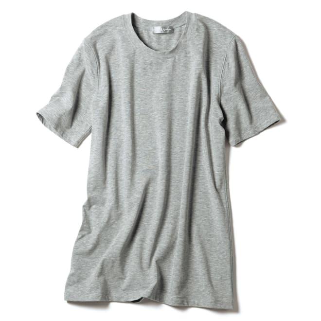 洗えるハイゲージコットン ベア天竺 クルーネック 半袖 Tシャツ (ア)グレー