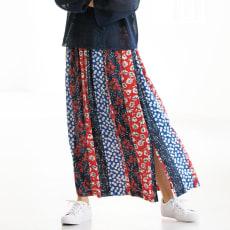 フランス素材 パッチワーク柄 ロングスカート