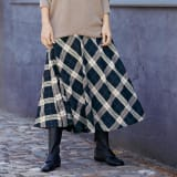 ウールコットンリネン フレアースカート...