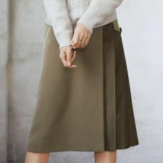 巻きスカート風 プリーツ切り替え スカート