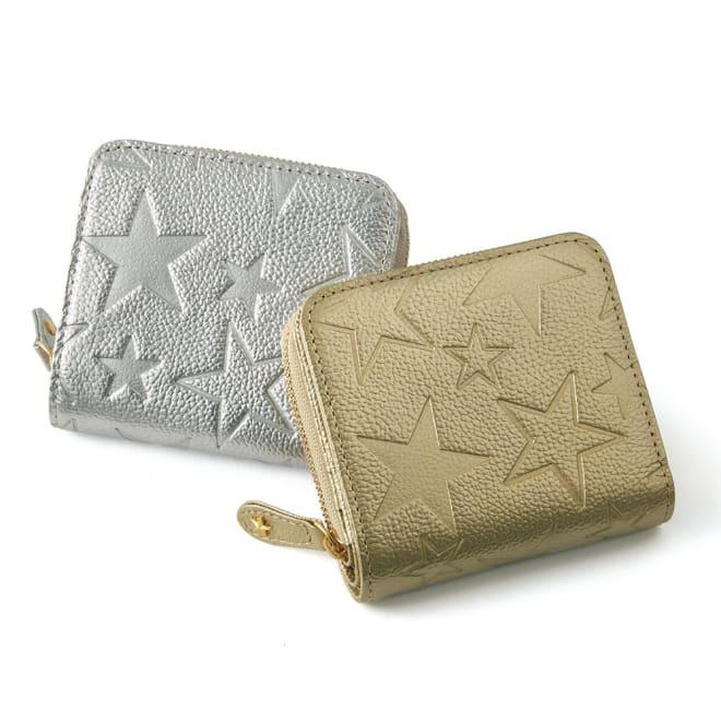 スターモチーフ レザー 折り財布 左から (ア)シルバー (イ)ゴールド