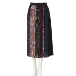 パッチワークプリント ロングスカート