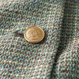 イタリア素材 ミックスツイード ノーカラー ジャケット ボタン部分