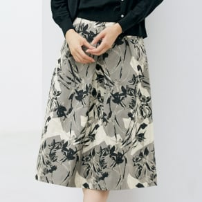 イタリア素材 フラワージャカード タック スカート 写真