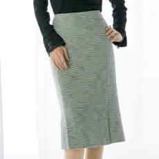 イタリア素材 ミックスツイード セミタイトスカート