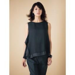 リネン混 裾ダブル クロップドパンツ (イ)ブラック コーディネート例