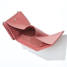 三つ折り コンパクト レザー財布 (エ)ピンク INSIDE