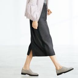 デニム風 脇ライン ロングスカート 着用例