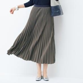 配色ライン プリーツスカート 写真