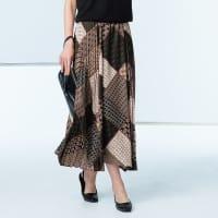 フランス素材 サイドプリーツ使い 幾何学柄プリント スカート