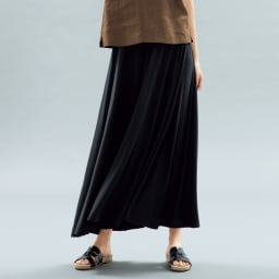 モダールベア天竺 サーキュラー風 スカート (ア)ブラック 着用例