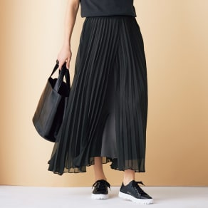 レイヤードデザイン プリーツ ロングスカート 写真