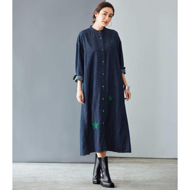 ニコちゃん刺繍デニムワンピース コーディネート例