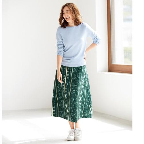 フラワー ストライプ柄 ラップ風 Aライン スカート 画像