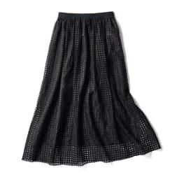 幾何学柄 レース ギャザースカート