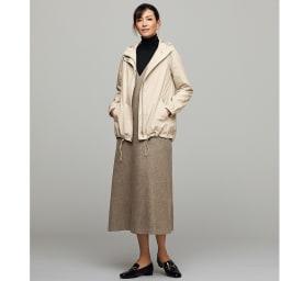 ツイード調 ジャンパーワンピース コーディネート例 /スポーティなコートを、ジャンスカの羽織りに。