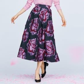 フランス素材 花柄 カットジャカード フレアースカート 写真