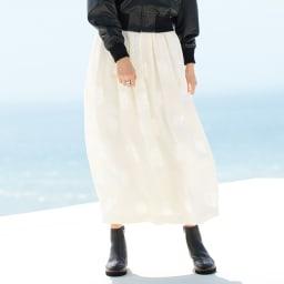 イタリア素材 花柄 カットジャカード タックフレアー ロングスカート 着用例