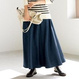リヨセル混 デニム調素材 フレアースカート 着用例