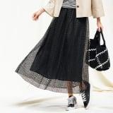 幾何学柄 レース ギャザースカート 写真