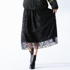 レオパード フロッキープリント スカート