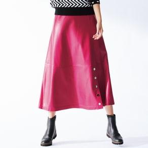 フェイクレザー ロングスカート 写真
