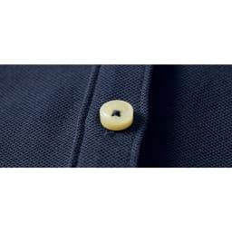 シルケット加工 鹿の子 テントライン ポロワンピース ボタン部分