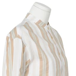 イタリア素材 ストライプ柄 バンドカラー シャツ